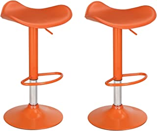 Adeco Orange High Gloss Adjustable Backless Barstool Chrome Finish Pedestal Base (Set of Two)