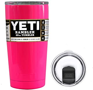 YETI Coolers 20 Ounce (20oz) (20 oz) Custom Rambler Tumbler Cup Mug Bundle with New Magslider Spill Proof Lid (Hot Pink Neon)
