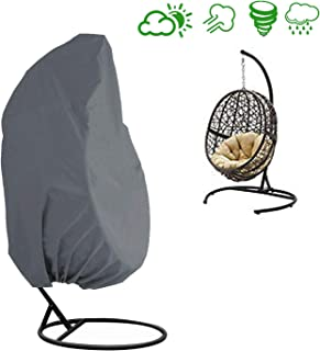 AKEfit Patio Hanging Chair Cover Single Wicker Swing Egg Chair Waterproof Fabric,Outdoor Pod Chair Swingasan Protector Cover,Designed with Drawstring, Handles for Easy Use(Grey)