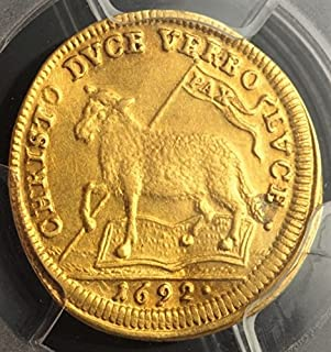 1692 DE German City of Nurnberg Lamb Antique Gold Coin 1/2 Ducat About Uncirculated Detail PCGS