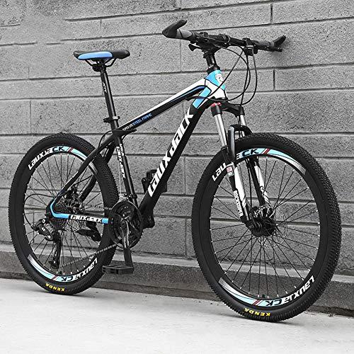 AP.DISHU Bicicletas De Montaña Bicicletas Marco De Acero Al Carbono Ligero De 21 Velocidades Bicicleta De Carretera Freno De Disco Rueda De Radios,Azul,26inch