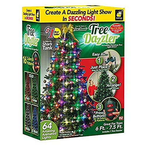 ABTSICA 64 LED Sternbirnen Star Shower Tree Dazzler Lampe 8 Blitzmodi Weihnachtsbaum Lichtshow Weihnachtsbaum Licht Dekorativ Für Hochzeit Weihnachtsbaum Neujahr Gartenterrasse Garden