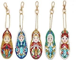 5D DIY Keychains Diamond Painting Kits for Adults Full Diamond Inlaid Cell Phone Handbag and Key Pendant(Matryoshka)