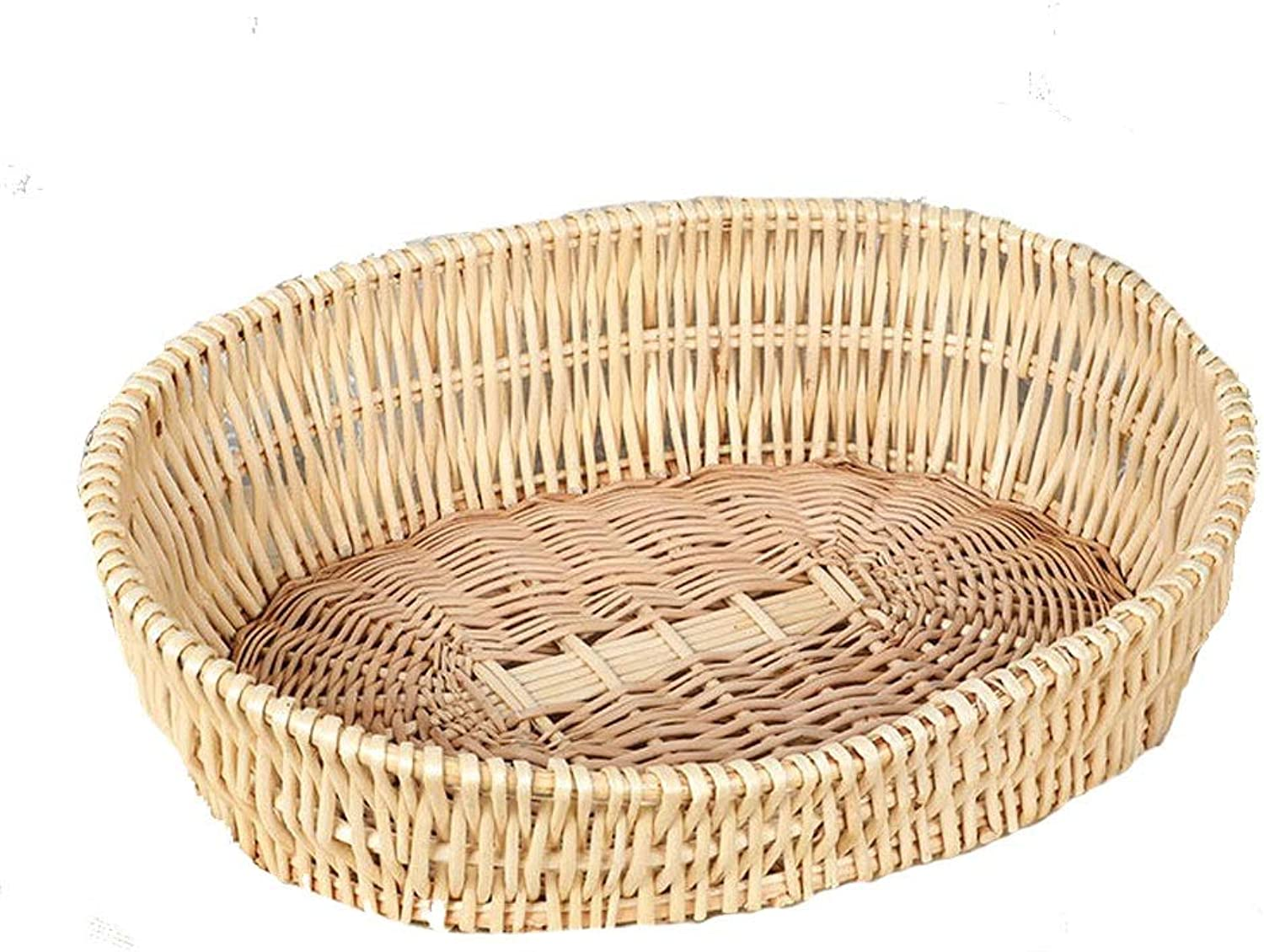 B&F Rattan Cat Litter, Cat House Cat Cage Rattan Wicker Kennel Pet Nest Summer Season Universal Removable And Washable (color   D, Size   L)