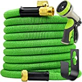 Hogue WS LLC - Heavy-Duty Flexible Leak-Proof Garden Hose - Includes 9-Mode High-Pressure Nozzle, Storage Pocket & Hanger - 100ft Expandable - Green