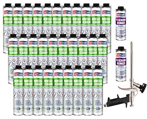 SET Pistolenschaum 30 Dosen 750 ml Montageschaum 1K Bauschaum PU-Schaum + 2 Reiniger + 1 Schaumpistole