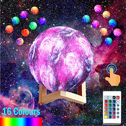 Dealbay Galaxy Lamp 3D Night Light 16 RGB Colour Tones Kids Bedroom Moon Space Lamp 3 Lighting Mode Touch Control Rechargeable With Remote Adjustable Brightness 8cm