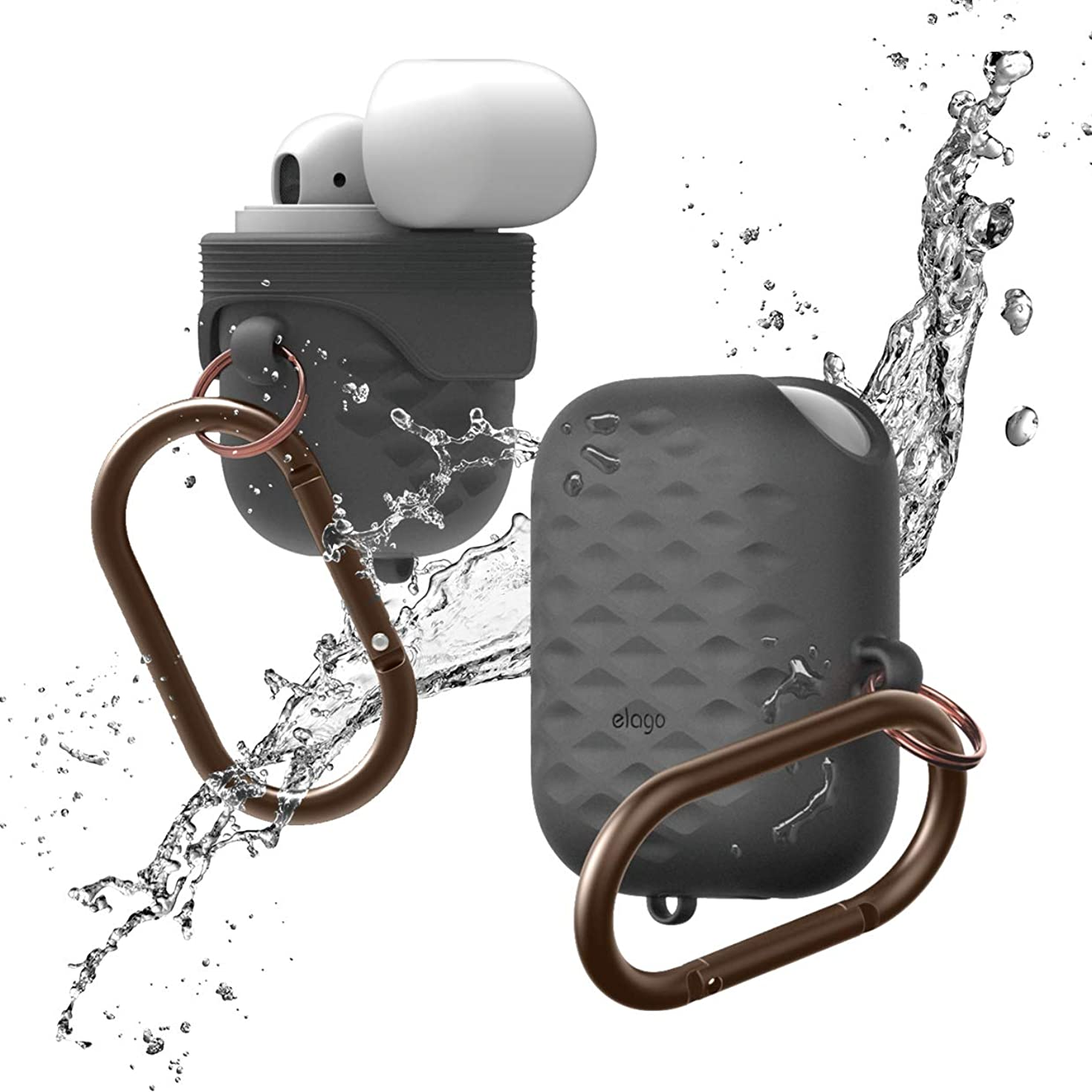 elago AirPods Waterproof Hang Active Case [Dark Grey] - [Compatible with Apple AirPods 1 & 2][Supports Wireless Charging][Waterproof][Dust Proof][Added Carabiner] - for AirPods 1 & 2