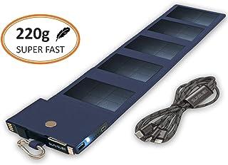 Cargador Solar Movil Equipado con tecnología SunPower, Power Bank Carga rápida, tamaño de Bolsillo, Panel Solar Compatible con iPhone, Samsung, Huawei, Ideal para Caminar, Azul