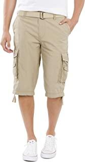 كوردوفا ماسنجر - سروال قصير رجالي بجيوب واسعة وحزام - لون رمادي ومقاسات كبيرة وطويلة من يونيون باي