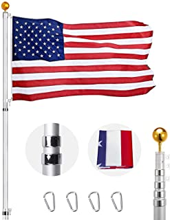 Heavty Heavy Duty 20FT Telescoping Flag Pole Kit, Aluminum Telescopic Flagpole Set with 3'x5' US American Polyester Flag & Golden Ball Topper for Commercial or Residential, Can Fly 2 Flags, Silver