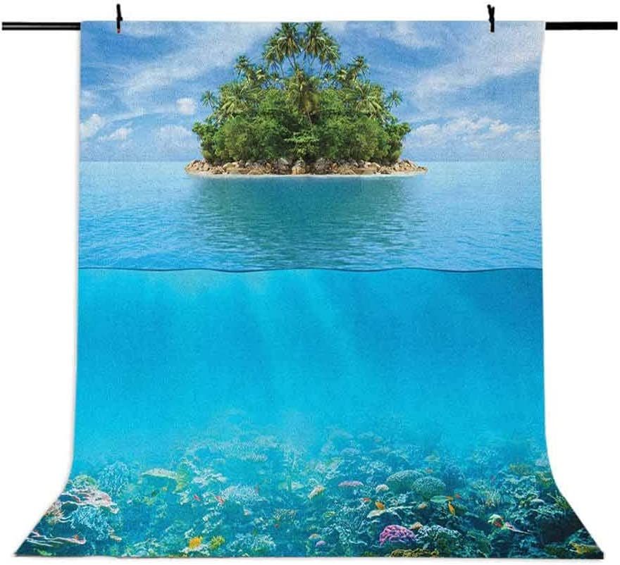 8x12 FT Tropical Vinyl Photography Backdrop,Lonely Small Island on The Ocean with a Jungle Exotic Flora and Fauna Background for Photo Backdrop Baby Newborn Photo Studio Props