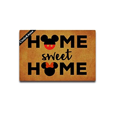 Cindy&Anne Tdou Home Sweet Home Cute Doormat Entrance Floor Mat Funny Doormat Door Mat Decorative Indoor Outdoor Doormat 23.6 by 15.7 Inch Machine Washable Fabric Top