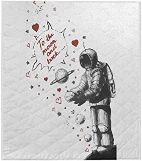 InterestPrint Astronaut Sends I Love You to The Moon and Back Comforter Thin Quilt Lightweight Comforter Twin
