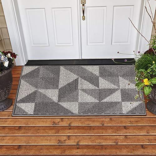 "YHOUSE Indoor Doormat Front Back Door Mat Rubber Backing Non Slip Door Mats Inside Floor Mud Dirt Trapper Mats Entrance Front Rug Shoes Mat Machine Washable Carpet (24""x 36"", Gray(Magic Geometry))"