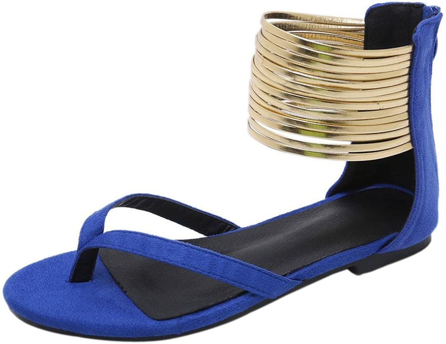 Goodtrade8 Universal Women's String Elastic Ankle Strap Flat Sandals Clip Toe