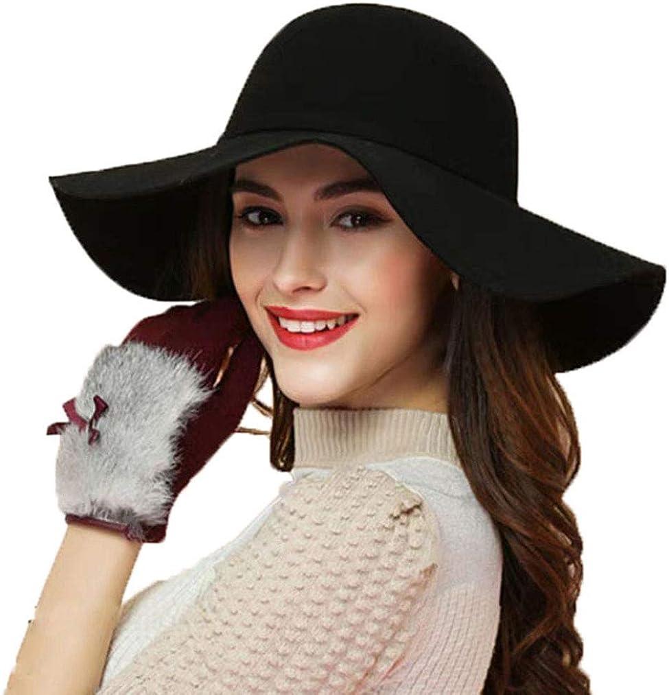 ASSQI Women's 100% Wool Foldable Wide Brim Retro Fedora Floppy Felt Bowler Hat