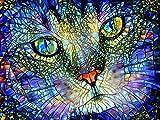 Rompecabezas De 1000 Piezas,Serie De Animales Glass Cat Head Wooden Family Puzzle Set, Desafío Cerebral Infantil Jigsaw Games, Rompecabezas Intelectuales De Educación Padre-Hijo Juguete, Decoració