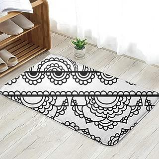 Cool pillow Henna Inspired Bannersborders Very Elaborate Easily Transportation Personalized Custom Doormats Indoor/Outdoor Doormat Door Mats Non Slip Rubber Kitchen Rugs 31.5 X 19.5 Inch