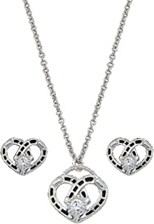 Montana Silversmiths Women's Horseshoe Heart Necklace And Earrings Set - Js61243