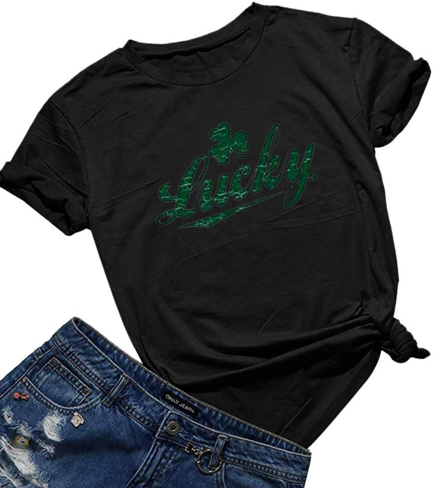 ildlor Women Top ST. Cheap bargain Patrick's Day Sleeve Tan Green Houston Mall O-Neck Short