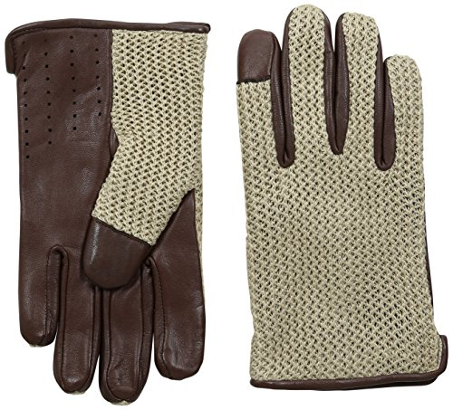 Ben Sherman Men's Leather Knit Driving Glove, Champagne, X-Large