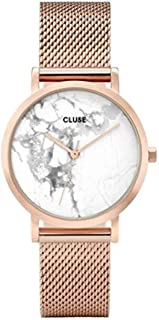 CLUSE La Roche Petite Mesh Rose Gold White Marble CL40107 Women's Watch 33mm Stainless Steel Strap Minimalistic Design Casual Dress Japanese Quartz Precision