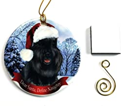 """Imprints Plus Schnauzer- Black Christmas Ornament 3"""" Porcelain Gift-Boxed with Tree Hook and Magnet Pet Holiday Decoration Bundle (HO 236)"""