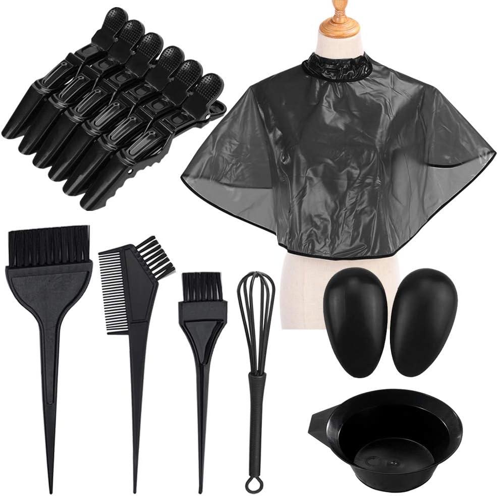 YuCool - Juego de 25 tintes para colorear el cabello, tinte para teñir la capa de tinte cepillo peine de mezcla de cuencos de mezcla de batidor de pelo, herramienta práctica