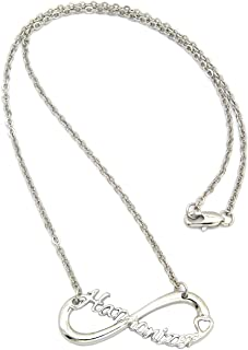 NYFASHION101 Harmonizer Fans Infinity Necklace in Silver-Tone with 2mm Link Chain Necklace, 18