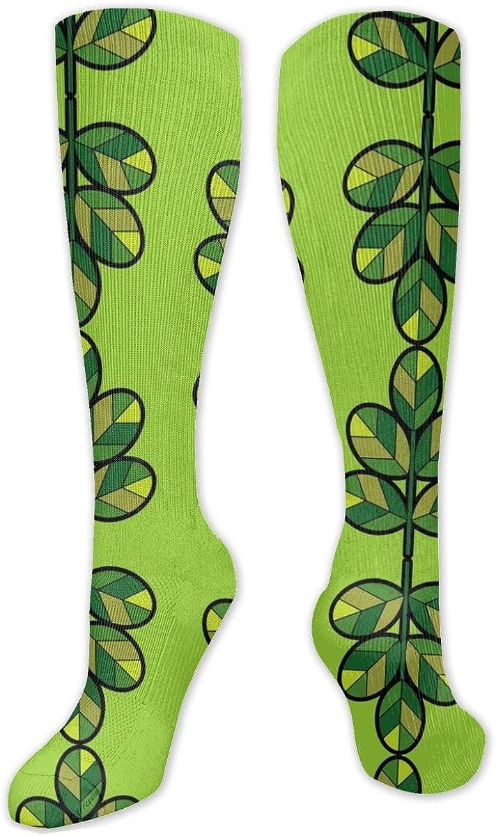 Green Leaves Knee High Socks Leg Warmer Dresses Long Boot Stockings For Womens Cosplay Daily Wear