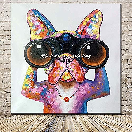Hand Painted Oil Painting On Canvas fashion Creative Personality Telescope Cartoon Puppy Art Oil Painting Wall Painting For Home Living Room Children Bedroom Art Background Decor -60cmX60cm