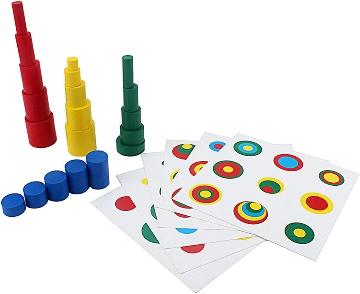 Montessori Knobbed Cylinder Colorful Wood Shape Color Match Home School Toy