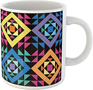 Tarolo 11 Oz Mug Coffee Mug Ceramic Tea Cup Quilt Simple Patchwork Pattern Abstract Black Block Carpet Collection Large C-handle Family and Office Gift