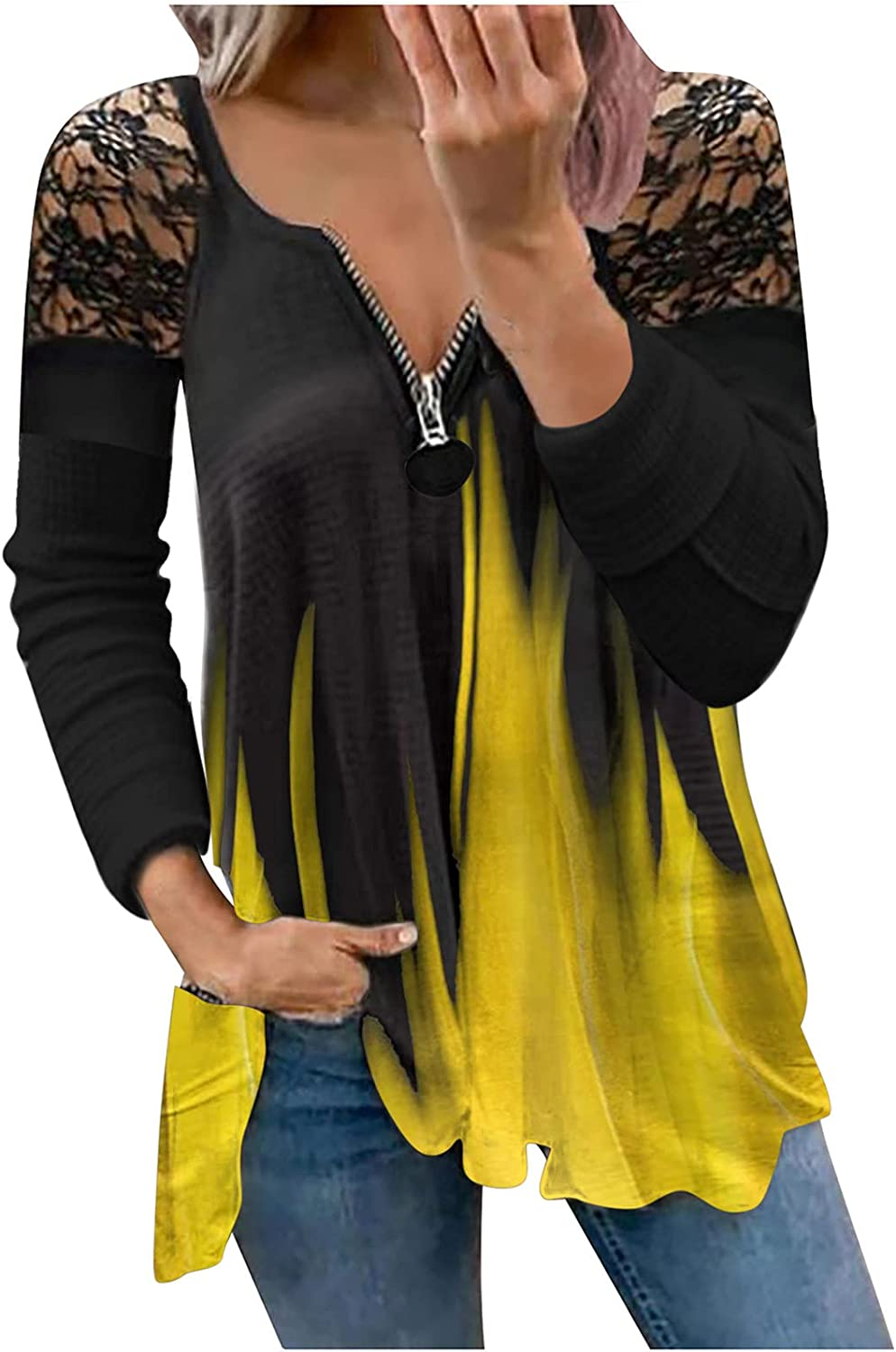 Womens Top Tie Dye Long Sleeve Strapless Casual T-Shirt Daily Loose Fit Lace Tunic Tops Zipper V-Neck Blouses