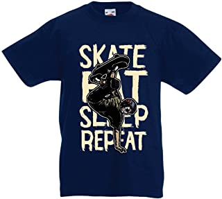 lepni.me Camiseta para Niño/Niña Eat-Sleep-Skate-Repeat