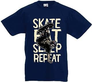 Kids Boys/Girls T-Shirt Eat Sleep Skate Skateboard Lover, Skateboarder, Skateboarding