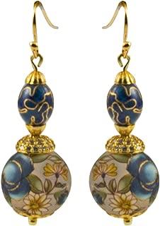 Genuine Japanese Tensa Glass Bead and Cloisenne Dangle Earrings