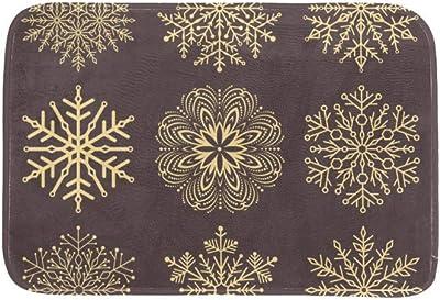 EGGDIOQ Doormats Snowflakes Custom Print Bathroom Mat Waterproof Fabric Kitchen Entrance Rug, 23.6 x 15.7in