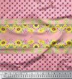 Soimoi Rosa Samt-Stoff Sonnenblume u rosa