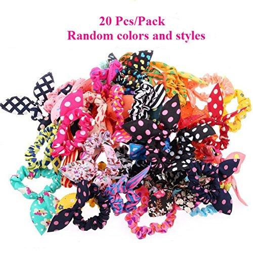 AKOAK 20 Pcs Per Pack Lovely Baby Girls Rabbit Ear Hair Tie Bands Polka Dot Leopard Trip Ponytail Holder