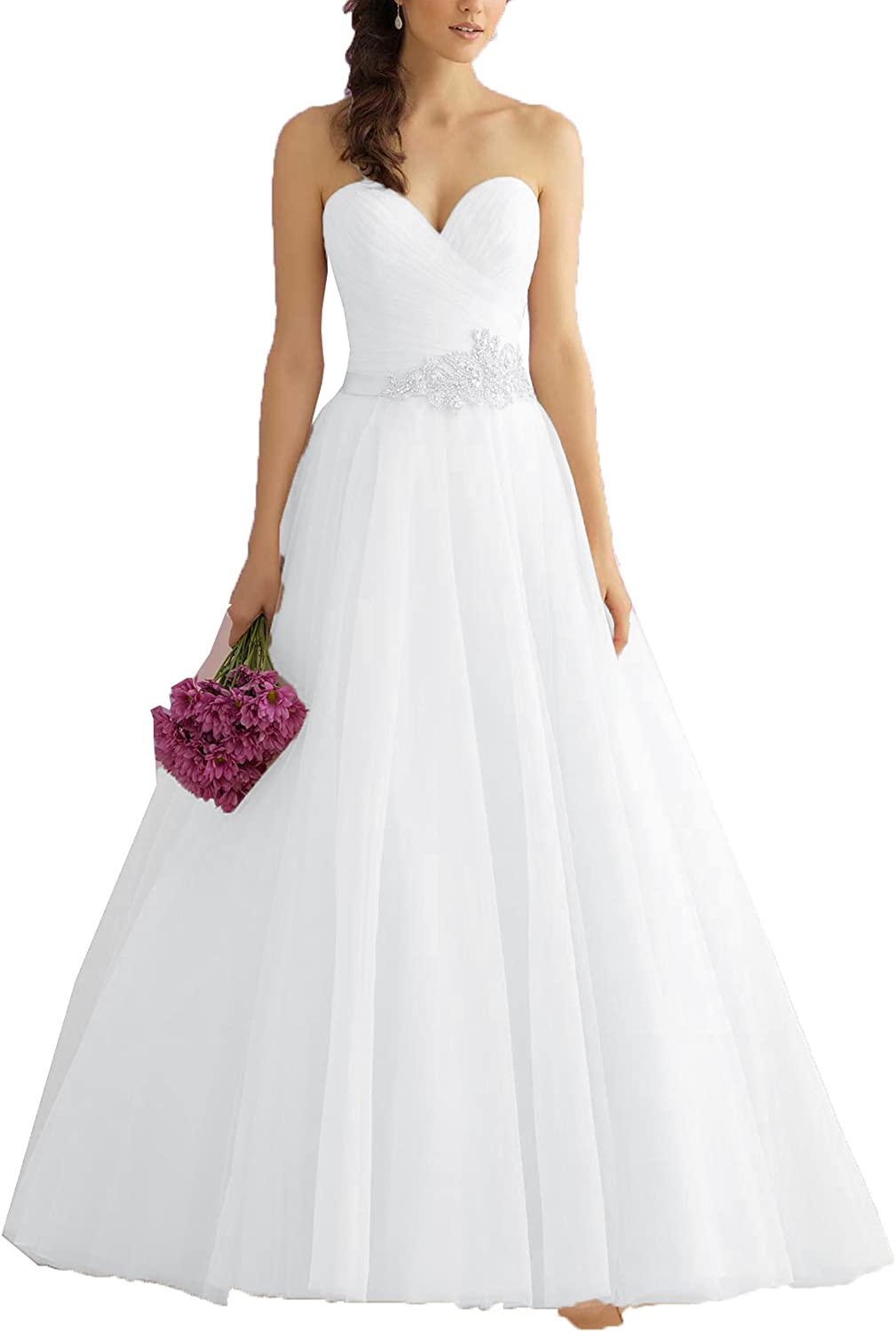 OnlyBridal Women's Strapless A Line Bridal Dresses Tulle Beaded Sashes Wedding Gowns