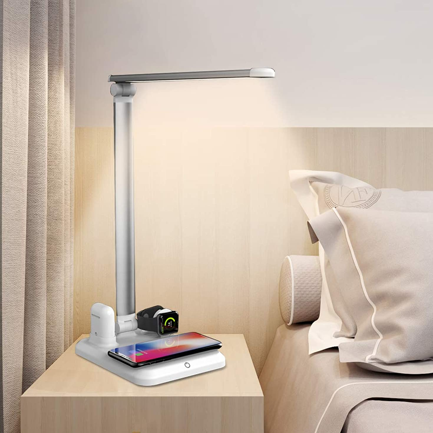 Boruit 4 in 1 Wireless Charger Table lamp Sleep Light Desk lamp has 3 Modes with USB Charging Port can Charge for iPhone Xs Max/XR/X/8/7 Plus/airpod/iwatch/Samsung Galaxy S10+/S9+/S8/S7 and so on