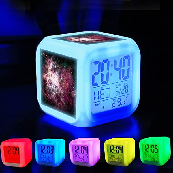 XLH Alarm Clock 7 LED Color Changing Wake Up Bedroom With Data And Temperature Display Changable Color Customize The Pattern 368 Cosmic Nebula Space Universe Astronomy Galaxy