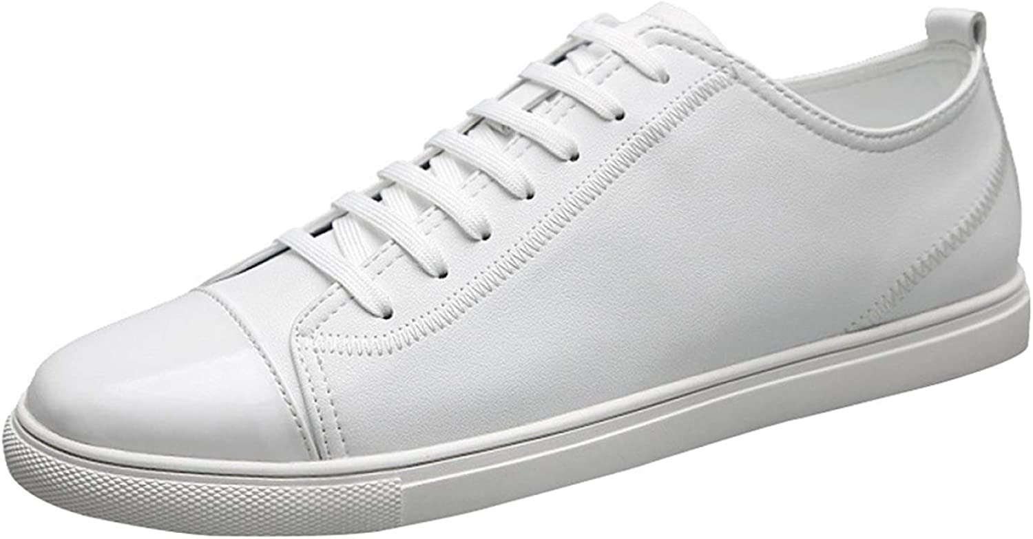 FuweiEncore Men's Fashion Sneakers Classic shoes Casual Leather Tennis shoes (color   White, Size   43EU)