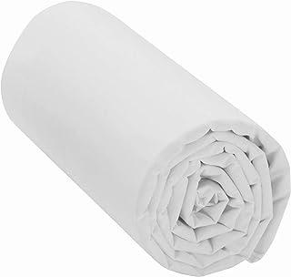 Drap Housse 100% Coton (Blanc, 160x200 cm) Grand Bonnet 30 cm 57 Fils - Certification Oeko Tex Standard - 2 Personnes - An...