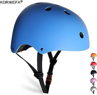 KORIMEFA Skateboard Helmet Kids Youth Adult Bike Helmet Adjustable CPSC Certified Multi-Sports Helmet for Cycling Scooter Roller Skate Inline Skating Rollerblading for Kids Men Women