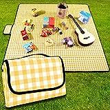 coperta da picnic,200 x 200 cm,coperta da spiaggia,da campeggio, con maniglia,fondo impermeabile,lavabile in lavatrice,coperta da campeggio per attività all'aperto,morbida e portatile(griglia gialla)