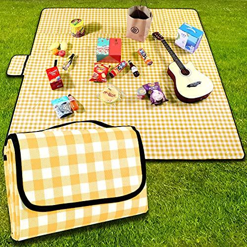 Coperta da picnic,200 x 200 cm,coperta da spiaggia,da campeggio, con maniglia,fondo impermeabile,lavabile in lavatrice,coperta da campeggio per attività all aperto,morbida e portatile(griglia gialla)
