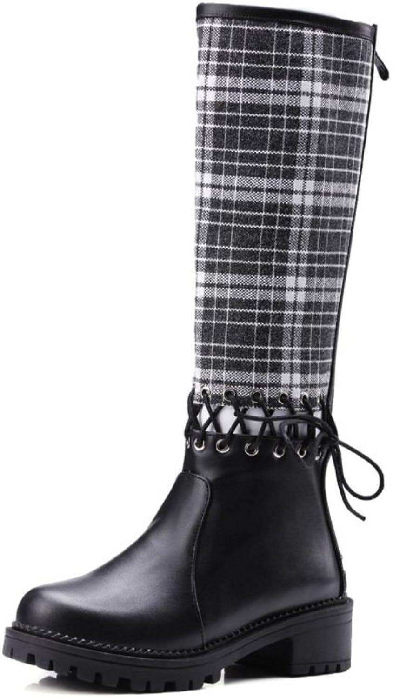 RizaBina Women Fashion Low Heel Knee Boots Zipper shoes